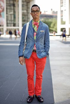 Cool I see he loves the floral prints. You can easily use this look as a blue print for women pieces instead with much more slimmer silhouettes .