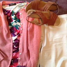 3/7/16: pink cardi, pink print top, grey trousers, tan trousers Grey Trousers, Capsule Wardrobe, Pink, Collection, Tops, Gray Slacks, Grey Pants, Grey Slacks, Gray Pants