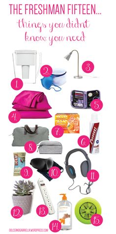 The Freshman Fifteen...Things you didn't know you'll need for college via Dolce & Gabriella