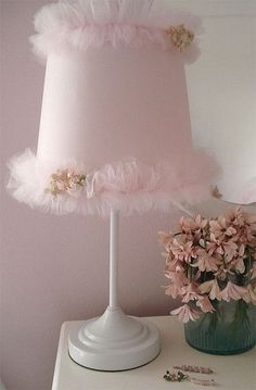 Startling Useful Ideas: Shabby Chic Lamp Shades Living Rooms lamp shades modern spaces.Shabby Chic Lamp Shades Fun old lamp shades home. Shabby Chic Lamp Shades, Rustic Lamp Shades, Shabby Chic Furniture, Shabby Chic Decor, Tulle Crafts, Tulle Projects, Pleated Lamp Shades, Wall Lamp Shades, Shades Window