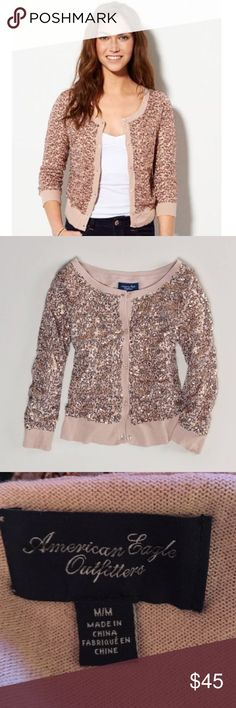 AEO Rose Sequin Cardigan Stunning sold out rose Sequin Cardigan by AEO. Button front. Shell: 100% polyester Lining: 100% polyester. Size Medium. Great Condition. American Eagle Outfitters Sweaters Cardigans