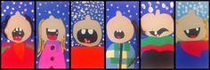4e année - inspiration Pinterest et hiver - cartons colorés et laine - découpage et collage