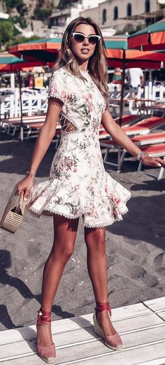 #summer #outfits White Floral Dress + Blush Pumps