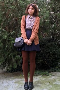 Discover this look wearing Burnt Orange Tights, Black Vintage Picard Purses, Bronze Bershka Cardigans - Paisley Pattern by Style_Journey styled for Vintage, Work in the Winter Orange Tights, Brown Tights, Nerd Outfits, Cute Outfits, Fashion Outfits, Cosy Outfit, Tights Outfit, Girl Fashion Style, Fashion Looks