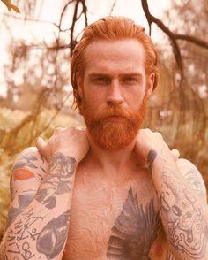 Gwilym Pugh - full red beard mustache beards bearded man men tattoos tattooed redhead ginger handsome #beardsforever