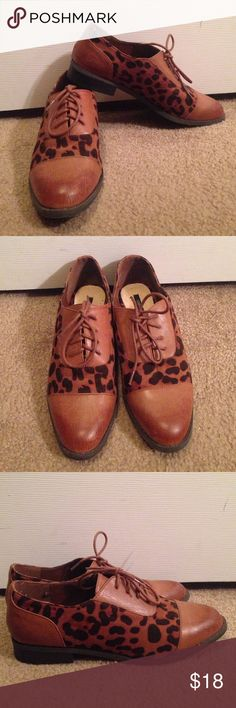 Leopard Print Oxford Shoes Worn maybe once or twice! Super cute Oxford shoes, but way more fun! Forever 21 Shoes Flats & Loafers
