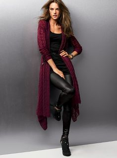 612993e331 long flowing burgundy cardigan with leather leggings - vs Burgandy Cardigan