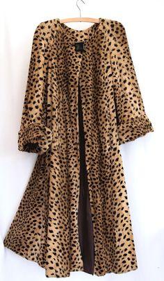 Vintage Biba  ocelot print faux fur swing back coat