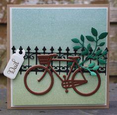 Biking Any Occasion Card Hi Bike Basket Bike Handmade Card Hello Card Aqua Bike Friendship Card Card to Say Hi Bicycle