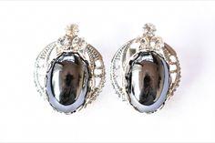 "Vintage Ornate Hematite Rhinestone Delicate Statement Earrings Clip On Boho Retro Costume Jewelry 1"" by DecoOwl on Etsy"