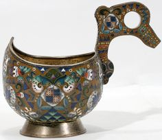 Russian .916 Silver & Enamel Kovsh by Faberge | Moscow | Early 20th Century | October 2007 | Saturday Sale