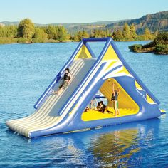 From pool floats to water slides, find a wonderful collection of fun and functional pool and water toys at Hammacher Schlemmer. Water Toys, Water Play, Water Games, Pool Games, Pool Floats, Floating In Water, Floating Island, Lake Life, Outdoor Fun