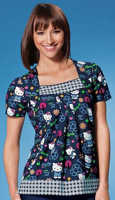 Cherokee 100% Cotton Green Hello Kitty Square Neck Scrub Top