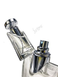 Sketch Design, Graphic Design Art, Object Drawing, Still Life Art, Drawing Techniques, Light And Shadow, Watercolor Art, Markers, Perfume Bottles