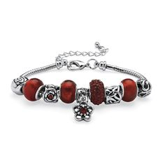 """Round Birthstone-Color Crystal Silvertone Metal Bali-Style Beaded Charm and Spacer Bracelet 7"""""""