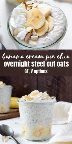 Banana Cream Chia Overnight Steel Cut Oats are a healthy make ahead breakfast that s prepped in only 5 minutes via FlavortheMoment breakfast breakfastrecipes mealprep overnightoats banana recipes steelcutoats glutenfree vegan healthy chiaseeds Banana Cream Pies, Healthy Make Ahead Breakfast, Best Breakfast Recipes, Vegan Breakfast, Breakfast Ideas, Recipes With Bananas Breakfast, Vegan Brunch Recipes, Breakfast Smoothies, Healthy Breakfasts