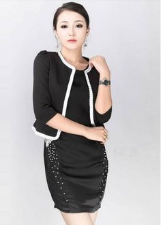 Simple Edging Black Round Neck Suits for Work with cheap wholesale price, buy Simple Edging Black Round Neck Suits for Work at wholesaleitonline.com !