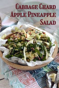 Take a look at this cabbage chard apple pineapple salad. Perfect for any meal or occasion! #cabbagesalad #fruitsalad Good Healthy Recipes, Easy Recipes, Breakfast Recipes, Dinner Recipes, Pineapple Salad, Different Salads, Cabbage Salad, Delicious Fruit, Easy Salads