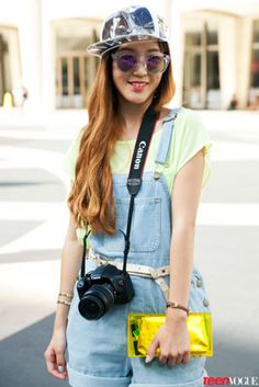 The Denim Short-All during New York Fashion Week featured in Teen Vogue #AmericanApparel #Denim #ShortAll