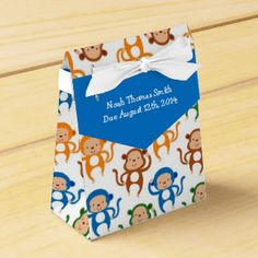 Colorful Monkey Theme Baby Shower Party Favor Box