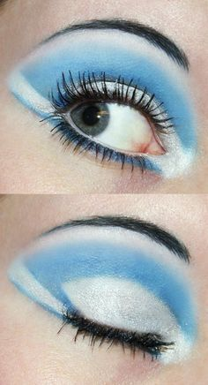 Blue and white eyeshadow by Creativemakeup.deviantart.com