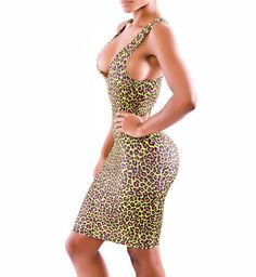 NEW ARRIVALS WOMEN SEXY DEEP V-NECK KNEE LENGTH LEOPARD PRINT BANDAGE BODYCON EVENING CASUAL OUTFIT CUT OUT CLUBWEAR DRESSES