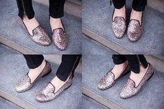 multi colored glitter loafers