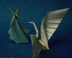 paper swan and lady origami