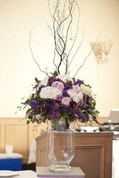 purple reception wedding flowers, wedding decor, wedding flower centerpiece, wedding flower arrangement, add pic source on comment and we will update it. can create this beautiful wedding flower Arrangement White Silver Wedding, Dark Purple Wedding, Purple Wedding Flowers, Floral Wedding, Big Flowers, Green Flowers, Spring Flowers, Beautiful Flowers, Large Floral Arrangements