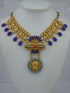 Askew London 'Egyptian Revival' Double Sphinx Collar Necklace image 4
