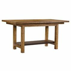 """The perfect finishing touch to your kitchen or dining room, this counter-height table pairs a clean-lined silhouette and extendable leaf.    Product: TableConstruction Material: Veneer and solid hardwoodColor: HickoryFeatures: 14"""" Leaf includedDimensions: 36"""" H x 74"""" W x 40"""" D (with leaf)"""
