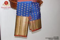 'Varuni Silks' brings exclusive Blue handwoven Kanchipuram Pattu sarees directly from the weavers, Whatsapp 9100663989, FB @varunisilks