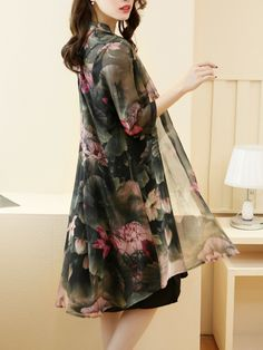Band Collar Lotus Printed Chiffon Two-Piece Shift Dress Mob Dresses, Dresses Online, Casual Dresses, Shift Dresses, Floral Dresses, Bride Dresses, Print Chiffon, Chiffon Dress, Lace Dress