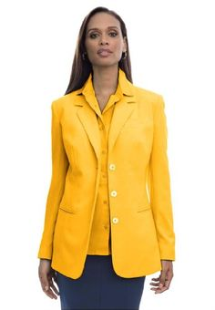 Jessica London Women's Plus Size Nassau Notched-Collar Jacket Mango Glow,22