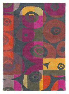 Dit vloerkleed heeft warme kleuren gecombineerd met een grijze achtergrond. Het patroon is handmatig aangebracht. Het vloerkleed is gemaakt ...