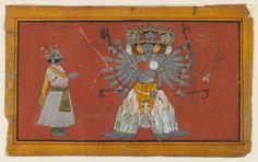 Vishvarupa: The Cosmic Form of Vishnu  Opaque watercolor and gold on paper, ca. 1820. Pahari  Via Brooklyn Museum