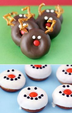 Christmas Breakfast Ideas - fun reindeer and snowman donuts are easy to make and perfect for a Winter Wonderland Party too!