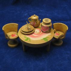 Vintage Japan Dollhouse Furniture Table and Chairs..