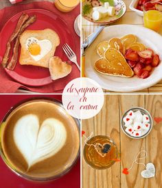 Valentine's Day Recipes: Breakfast in bed on Valentine's Day Grilled Cheese Recipes Easy, Healthy Recipes, Easy Chicken Fettuccine Alfredo, Honey Baked Chicken, Breakfast Desayunos, Funny Breakfast, Romantic Dinners, Holiday Recipes, Brunch