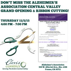 Come & celebrate the Grand Opening and Ribbon Cutting of the Alzheimer's Association Central Valley office this Thursday the 5th. Join us on 11/5 from 4 - 7 pm for a wonderful Ribbon Cutting ceremony and Grand Opening celebration. Also save the date for their upcoming Caregiver & Wellness Conference - Nov. 14th. Help us give this Chamber member a very warm welcome & have a great time too!  #Alzheimers #CentralValley