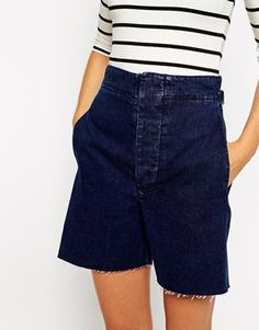 Enlarge ASOS High Waisted Denim Wide Leg Shorts in Indigo