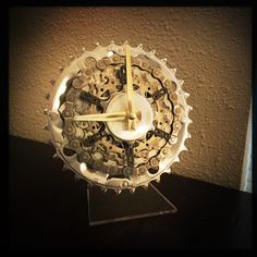 with this baby on their desk, the cyclist in your life will never be late for a noontime ride again. made entirely from recycled bicycle parts, this Bike Gear Desk Clock brings a passion for cycling into any home or office and it is oh so cool too.