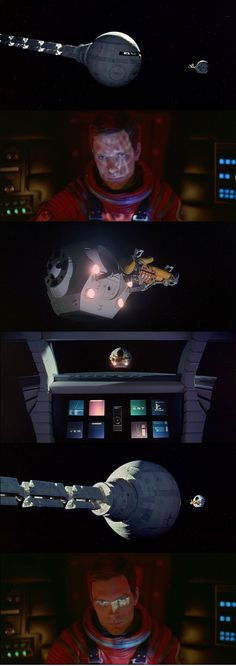 """The famous confrontation between HAL 9000 and Dave when the latter wants access to the ship. """"Open the POD doors!"""" The first snapshot dramatizes HAL's power over David (the big ship against the small pod). 2001: A Space Odyssey 1968"""