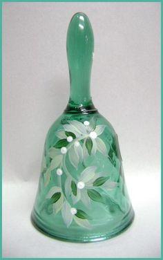 Fenton Art Glass Mistletoe Bell Signed J. Cut Glass, Glass Art, Love Bells, Glass Shoes, Fenton Glassware, Ring My Bell, Christmas Bells, Carnival Glass, Glass Collection