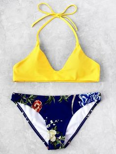 Blue and Yellow Botanical Print Halter Top Bikini Set