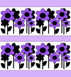 Floral Wallpaper Border Purple Flower Girl Wall Art Decal Decor #decampstudios