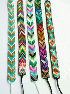 Native American Loom Beading Patterns Free Non Loom Bracelet Patterns, Bead Loom Bracelets, Bead Loom Patterns, Beading Patterns, String Bracelets, Beading Ideas, Bead Crafts, Jewelry Crafts, Bead Loom Designs