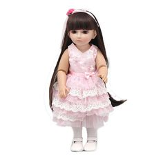 OMISS 18 Inch Lovely Doll Wearing a Hair Band of a Pink Flower and White Dress *** Wow! I love this. Check it out now! : Collectible Dolls for Home Decor