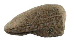Irish Tweed Cap Brown Plaid Herringbone 100% Wool