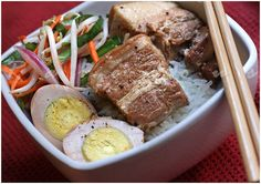 Thit Kho • Caramelized Braised Pork Belly and Eggs • Vietnamese food • secret: use coconut juice/soda!